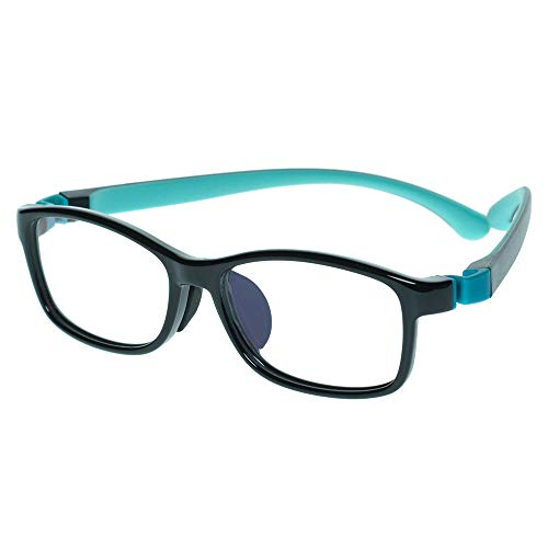 Kids Glasses Eyewear Frame Adjustable Flexible Cute with Square Clear Lense for Boys Girls (Age ()