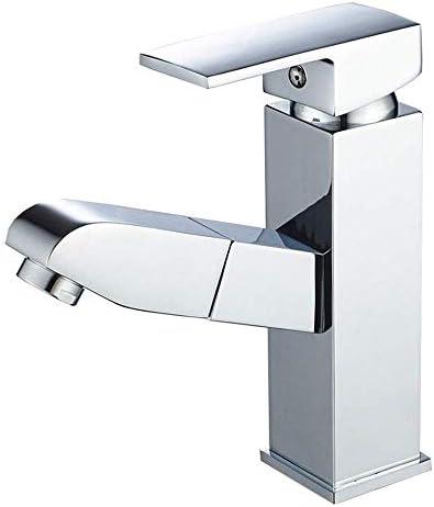 飲料水フィルタータップシングルハンドル1つの穴広いバスルームの蛇口ポップアップドレイン2つのホース付き大口(色:シルバー、サイズ:フリーサイズ)
