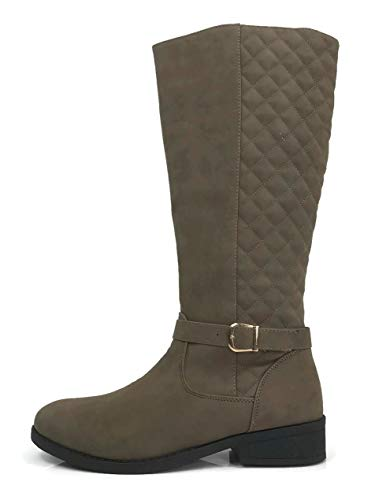 Wells Collection Womens Quilted Knee High Boots Soft Faux Suede Flat Heel with Side Zipper, 10 - Womens Quilted Boots