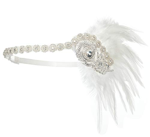 (1920s Flapper Headpiece Great Gatsby Headband Fascinator with Ostrich Feathers Costume Accessories)