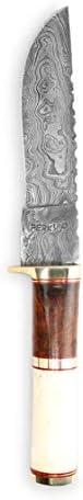 Perkin – Custom Handmade Damascus Hunting Knife – Bowie Knife – Bone Burl Wood Handle