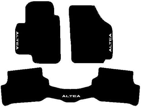 Color Negro SonCar Juego Completo de Alfombras de Moqueta con Traseras Unidos y Bordado de Hilo Bianco