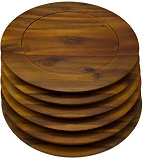 - 6 Pack Round 13 Inch Wooden Charger Plates B. Smith Solid Acacia Dinner Servers Set