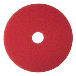 3M 08393 Red Buffer Floor Pads 5100 Low-Speed 18'' 5/Carton