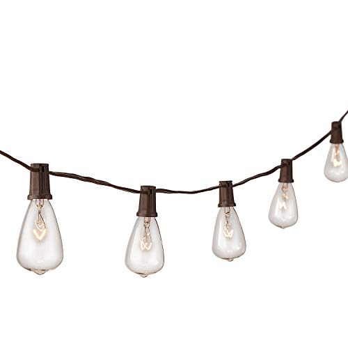 NIOSTA 13ft Outdoor Bistro String Lights,Patio Lighting Strand with 10 Clear Antique Bulbs, Hanging Lights String for Indoor Room Backyard Party, Pergola,Market,Cafe, Gazebo, Porch -Brown ()