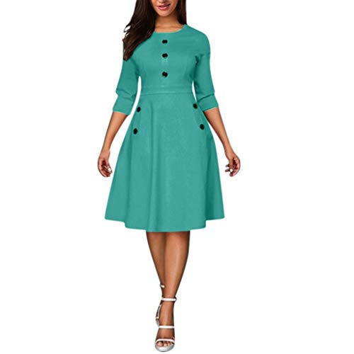 Sunmoot Clearance Sale Women Casual Cropped Sleeves Vintage Dress,Summer Button Party Aline Swing Princess Mini Dresses Green