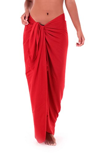 Shu-Shi Womens Beach Cover Up Sarong Swimsuit Cover-Up, Red, One Size,Red,One Size -