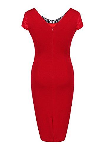 Noche U8Vision Mujer para Rojo Vestido cWpn1PF5