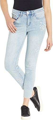 FDJ French Dressing Jeans Women's Olivia Slim Ankle Textured Floral Detail in Cool Blue Cool Blue 6 26.5