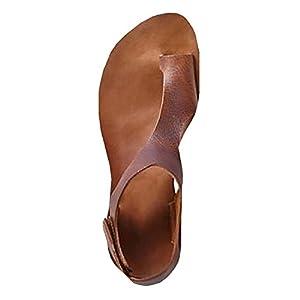 Meilidress Womens Casual Toe Loop Leather Flat Sandals