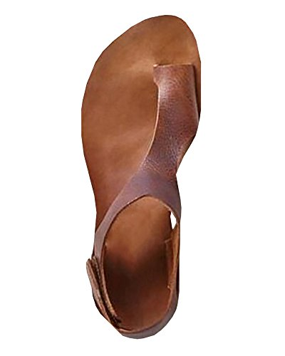 Womens Casual Toe Loop Leather Flat Sandals by (Brown Leather Woman Sandal)