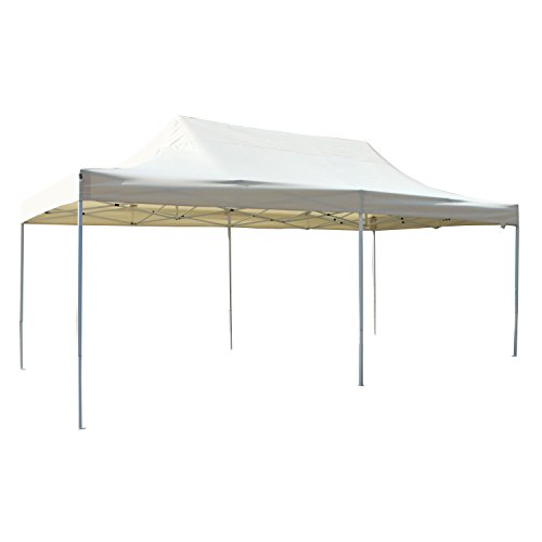 ALEKO GZF10X20BG Foldable Popup Polyester Gazebo Canopy Patio Coffee Shelter 10 x 20 Feet Cream