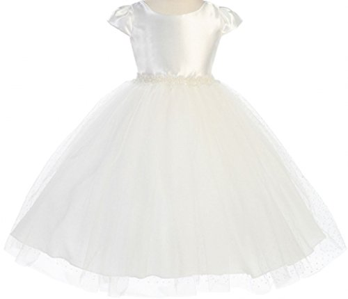 Big Girls' Shiny Short Sleeve Polka Dot Sequin Flowers Girls Dresses Ivory Size 10 -