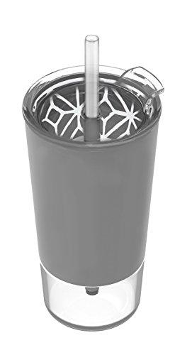 Ello Tidal Glass Tumbler with Straw, Grey, 20 oz