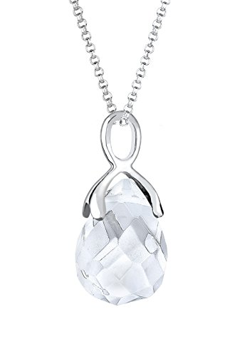 Elli chaîne pour femme avec pendentif en argent 925 et cristal sWAROVSKI eLEMENTS ruby 0103651115_60–blanc