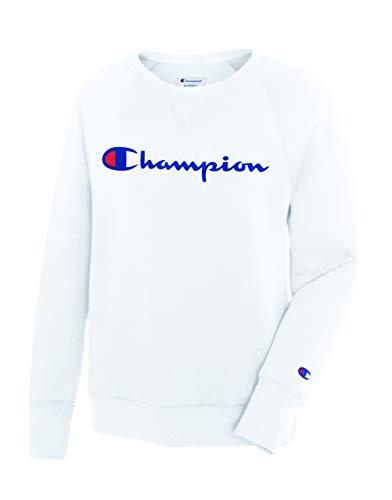 Champion Women's Fleece Boyfriend Crew, White, Medium ()
