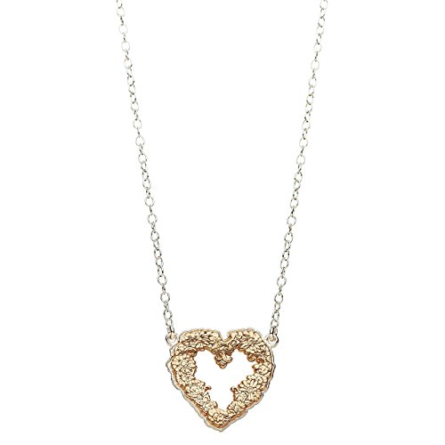 Handmade Heart Floral Etched Necklace with Rose Gold by Alef