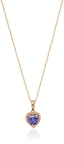 10k Rose Gold Tanzanite Heart and Diamond Pendant Necklace, (1/10 cttw H-I Color, I1-I2 Clarity), 18