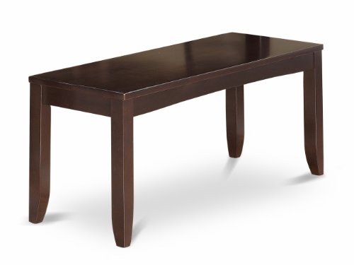 East West Furniture LYB-CAP-W Dining Bench with Wood Seat, Cappuccino Finish (Bench Banquette Furniture)