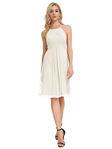 Alicepub Chiffon Bridesmaid Dresses Halter Cocktail Dress Short Homecoming Party Dresses, Ivory, US6 ()