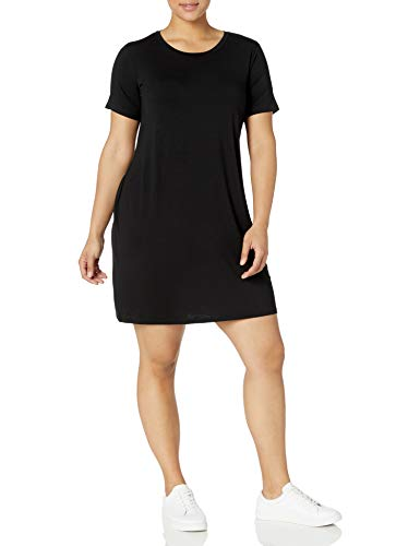 Amazon Brand - Daily Ritual Women's Plus Size Jersey Short-Sleeve Scoop Neck T-Shirt Dress, 1X, Black