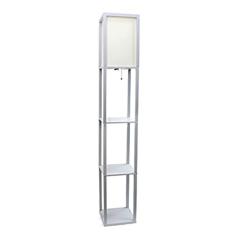 Simple Designs Home LF1014-GRY Floor Lamp Organizer Storage Shelf with Linen Shade, Gray (Floor Lamps For The Office)