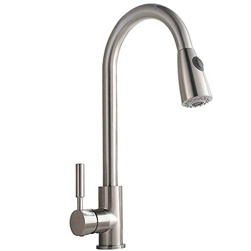 Comllen Commercial Single Handle High Arc Brushed Nickel Pull out Kitchen Faucet,Single Level Stainless Steel Kitchen Sink Faucet with Pull Down Sprayer Without Deck Plate (Alone Stand For Bars Sale)