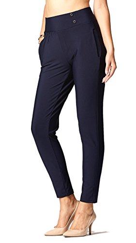 Premium Women's Stretch Dress Pants - Treggings - Slim Navy Blue - Small - YS07-Solid-Navy-S