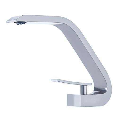 BAKALA Brass Chrome Faucets Single Handle Bathroom Sink Faucet Household Wash Basin Faucets with German Neoper Ultra-thin Water Outlet Nozzle Core
