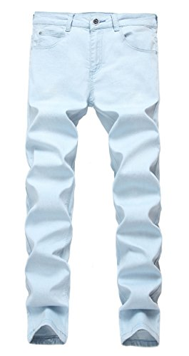Men's Light Blue Skinny Jeans Stretch Washed Slim Fit Straight Pencil Pants W31