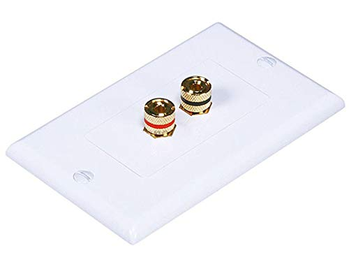 Monoprice 103324 Banana Binding Post Two-Piece inset Wall Plate for 1 Speaker (Monoprice Speaker Wall Plate)
