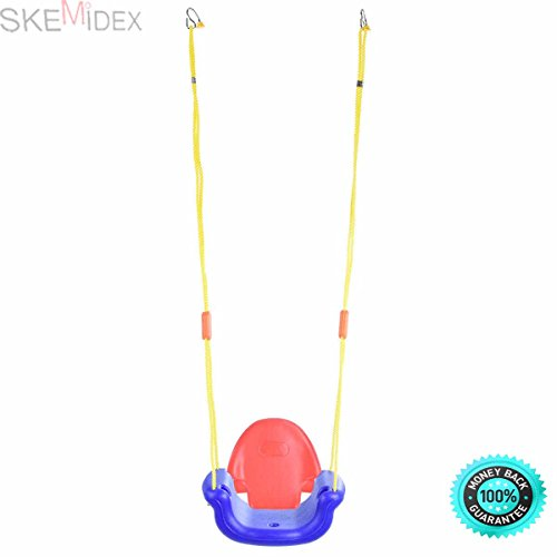 SKEMiDEX--- 3-in-1 Infant to Toddler Swing Set Secure Detachable Outdoor Play Patio Garden Brand news and Constructed of plastic, resistant Water and mold Easy to assemble, converted (Out Set Swing Door)