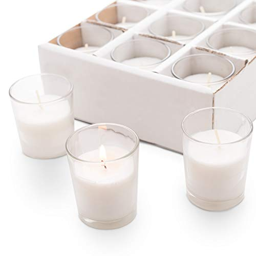 Royal Imports Votive Candles Bulk Set of 24 White Candles Wax Filled in Clear Glass Holders, Unscented, Ideal Restaurant, Weddings, Party, Spa, Holiday, Home Decor - 15 Hour Burn Time ()