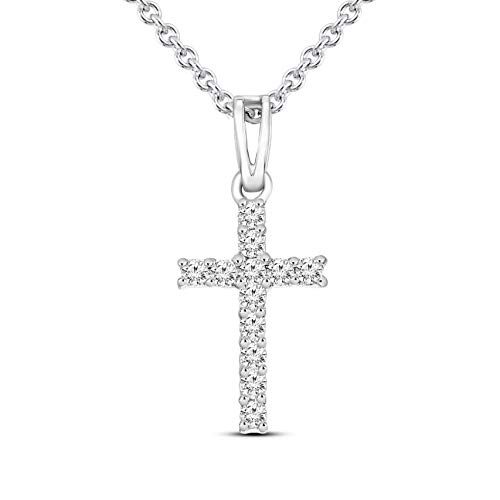 Mothers Day Gifts Luxury 1/6 cttw White Diamond Cross Pendant For Women Natural Diamond Cross Pendant I1-GH Quality 10K Gold 100% Real Diamond Pendant (Jewelry Gifts For Mothers ()