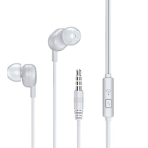 InOne High bass Earphones with mic Stereo Sound Experience with 3.5mm Universal Jack  White
