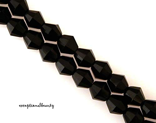 (75 Opaque Jet Black Preciosa Czech Fire Polished 7mm Faceted Bicone Beads )