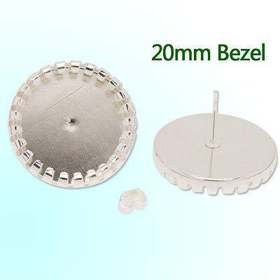 FidgetFidget Round Stud Earrings Blank Base fit 20MM Glass cabochons 20pcs 20MM C2836-Silver Plated ()