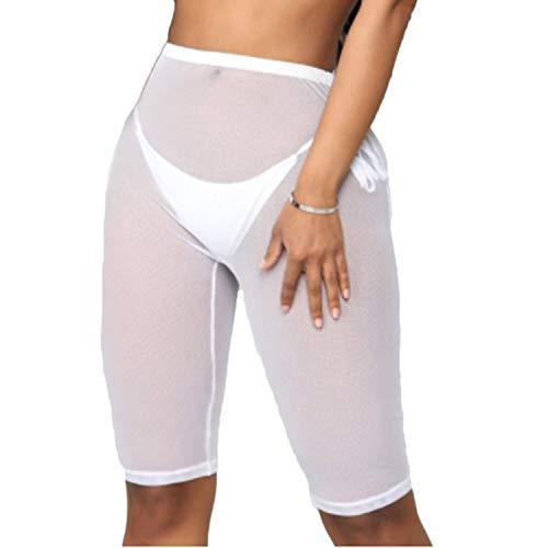 wsevypo Women See Through Sheer Mesh Short Pants Swimsuit Bikini Bottom Beach Cover ups Swim Shorts Party Clubwear Shorts