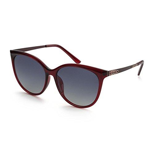 Red Ojo Gafas de Sunglasses Femenina Gafas de polarizadas Bastidor Sol Gran Mujer el Rojo de Ronda Moda Gato de Parte Posterior Sol Gafas TL del la de FqT5q