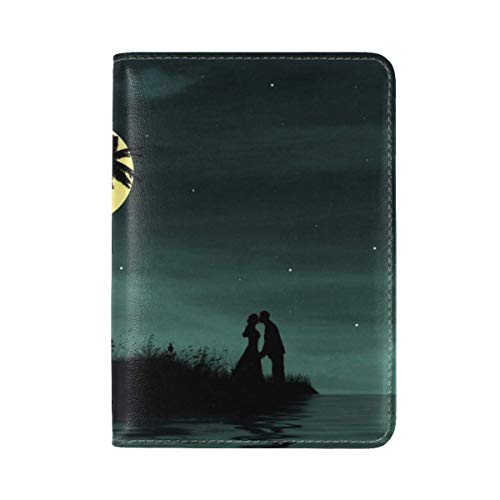 Couple Love Kiss Island Dark Vector Leather Passport Holder Cover Case Travel One Pocket by ANT88-PASSPORT