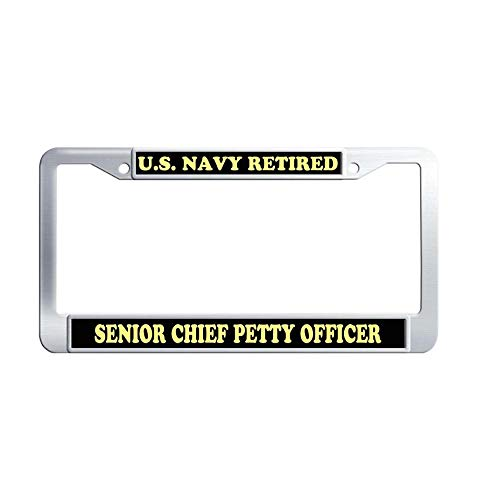 Hensonata US Navy Retired Senior Chief Petty Officer Stainless Steel Car Plate Frame, Retro Waterproof Metal Car License Plate Holder with Screw Caps for US Vehicles