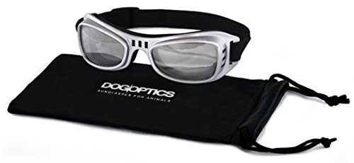 Dogoptics Hundesonnenbrille Hundebrille Silber Biker / Gläser leicht getönt Gr.S