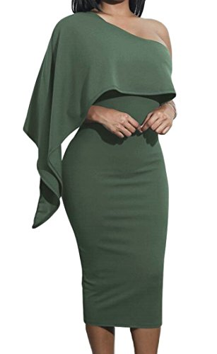 Women Ruffle Solid Cocktail One Bodycon Midi Shoulder Domple Green Army Dress Stylish dqtwxp