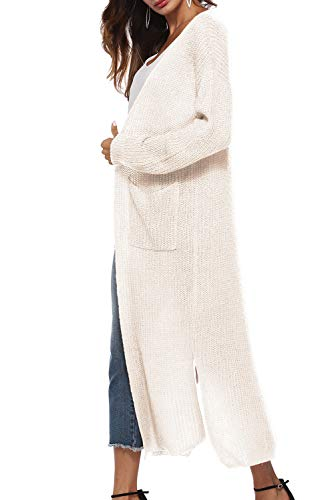 Aperto Con Coat Manica Giacca Lungo Ragazza Lana Lunga Leggero Streetwear Invernale Cappotto In Blazer E Capispalla Laterali Tasche Maglione Spacchi Trench Cardigan Giubbotto Beige Asimmetrico Donna Maglia n0Nwm8