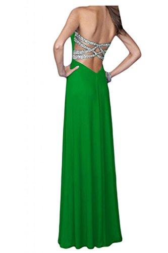 Diseño de la Toscana novia Empire Rueckenfrei por la noche vestidos de Gasa de dama de honor vestidos de bola de fiesta largo Verde