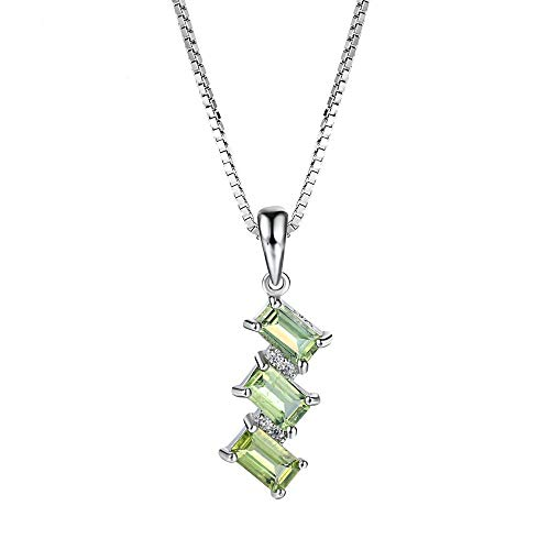 QMM Pearl necklace Pendant Natural Gemstone Peridot 925 Sterling Silver Pendant Necklace for Women Rectangle Shape Chain Fine Jewelry