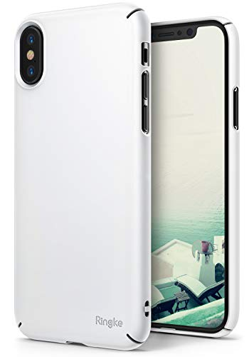 Ringke Slim [Wallet Slot Attachment] Case Compatible with iPhone X, Superior Slender [2 in 1 Accessory Kit] Precise Contour Lightweight Classy Fashionable Cover Set - White