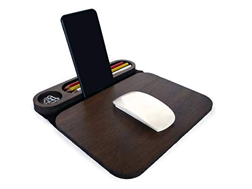 Wood and felt mouse mat organizer with phone and tablet stand Many available colors as dark walnut Small nerd mousepad for desktop Cool geek pad desk tray accessories Office mats table organiser ()