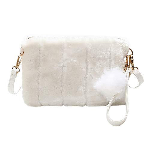 Outtop Faux Fur Bag Handbag Clutch for Women Girl (Beige)