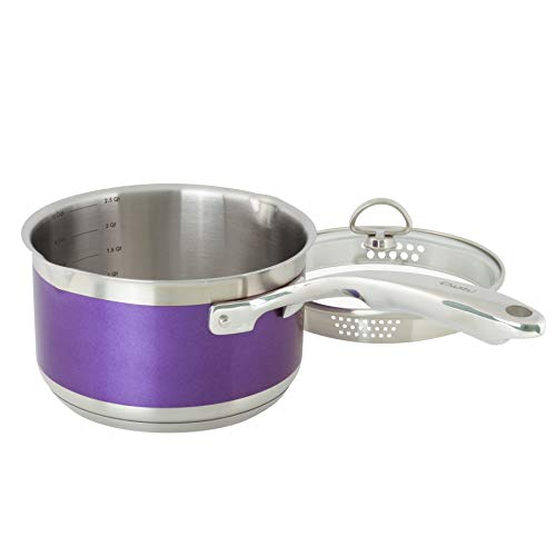 Chantal AllergenWare Purple Saucepan with Pour Spout & Strainer Lid, 2.5 Quart
